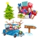 Cartoon Christmas Elements Set