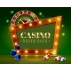 Casino Festive Lights Green Background Poster