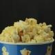 Salty Popcorn Slowly Rotates on Black Background