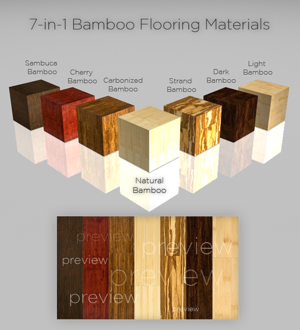3DOcean 7-in-1 Bamboo Flooring Materials 73201