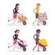 Set of Women Pushing Wheelbarrows with Coins