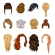 Women Wigs Hairstyle  Realistic Icons Set