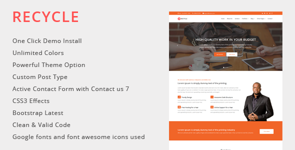 Download Recycle - Multipurpose WordPress Theme nulled download