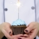 Cupcake with Bow and Candle - Happy Birthday Card Holidays Greeting Card.