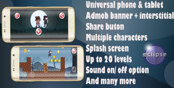Download Super Ninja :Android Game - Easy Reskin - Admob Ads - Multiple characters- And more nulled download