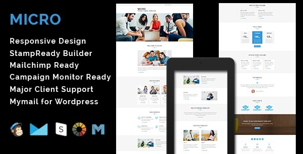 MICRO - Multipurpose Responsive Email Template With Stamp Ready Builder Access