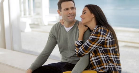 VideoHive Romantic Young Couple Sitting Watching 19238722
