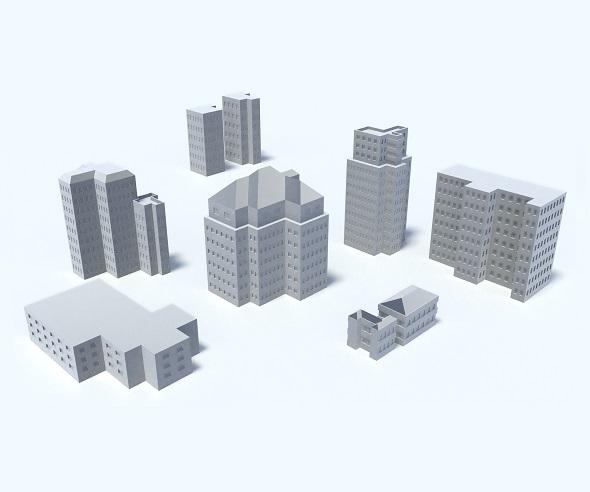 3DOcean 9 Buildings Skyscrapers Set 19238756