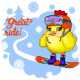 Great Ride Young Chicken on a Snowboard