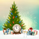 New Year Background with 2017 and Gift Boxes