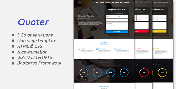 Quoter One page Responsive Bootstrap Template