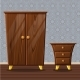 Cartoon Funny Closed Wardrobe and Bedside Table