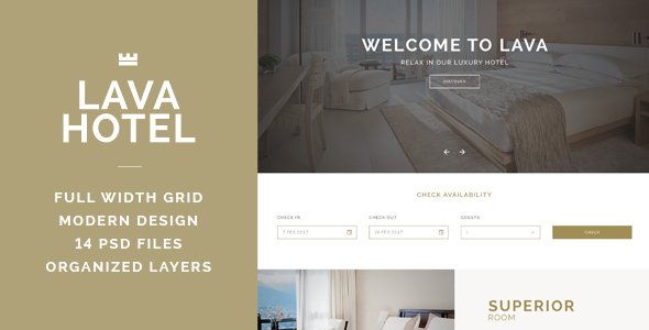 LAVA - Luxury Hotel PSD Template
