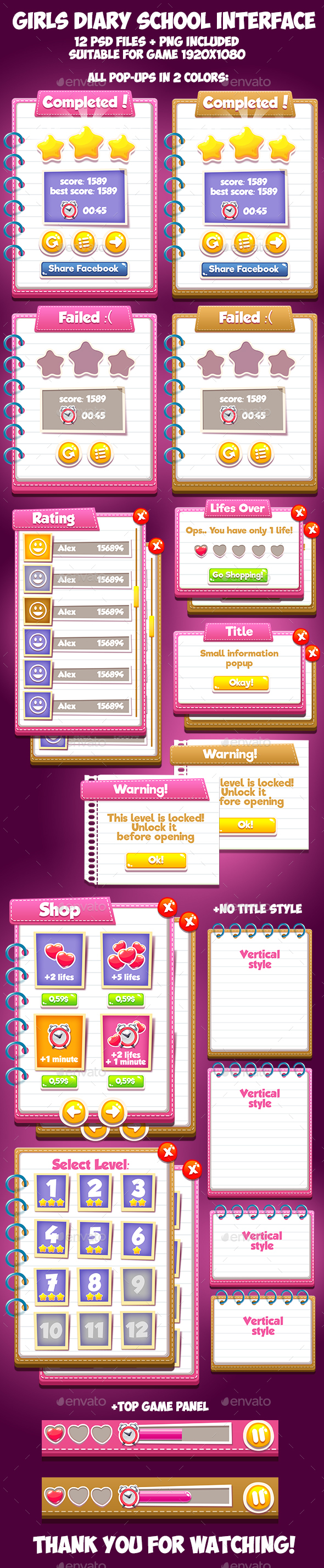 Girls Diary School GUI (User Interfaces)