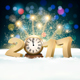 New Year Background with a 2017 and Clock