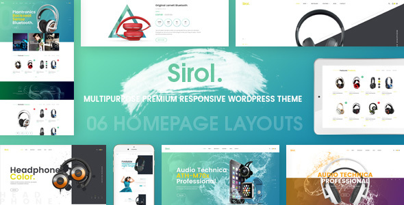 Фото Wordpress премиум шаблон  Sirol - Headphone Digital Accessories WordPress Theme — 01 preview.  large preview