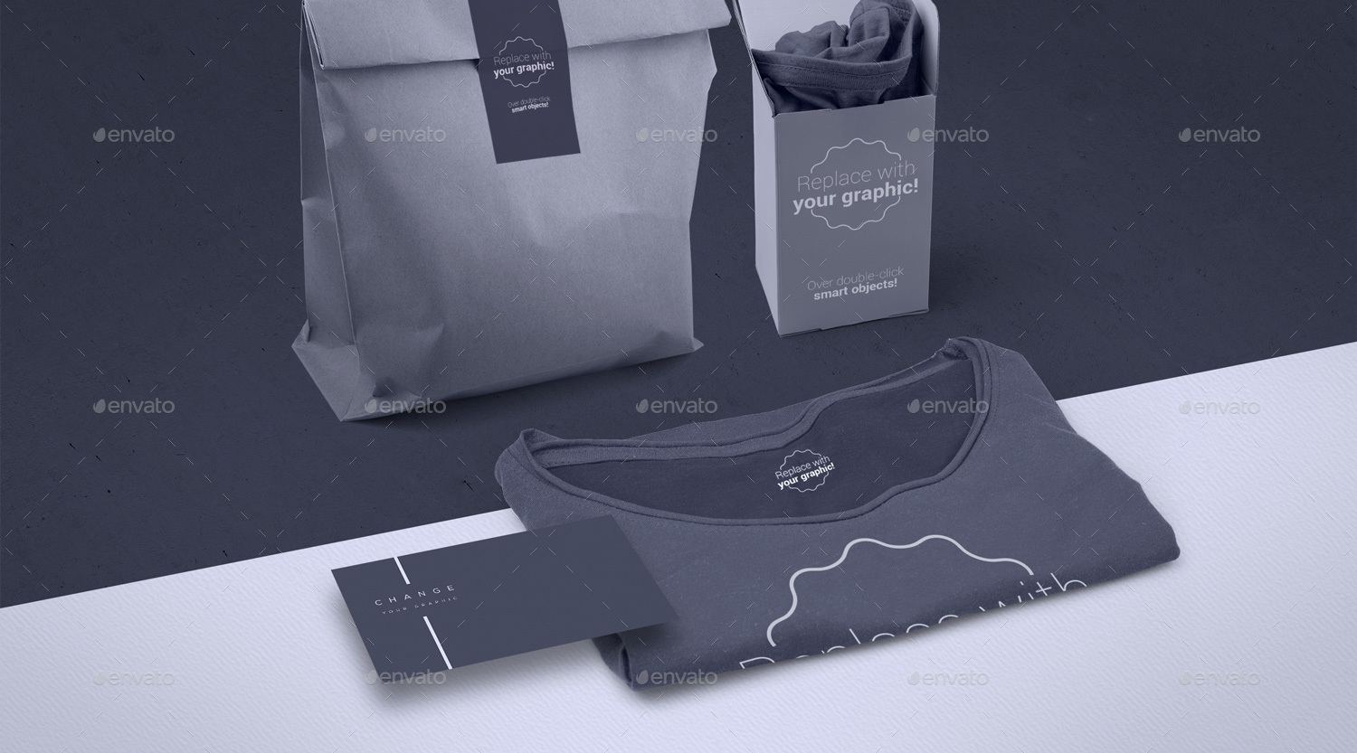 Shirt design generator -  T Shirt Mockup With Bussines Card And Two Packages Templates For Header Hero Image Jpg