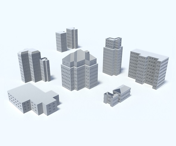 9 Buildings, Skyscrapers, Set - 3DOcean Item for Sale