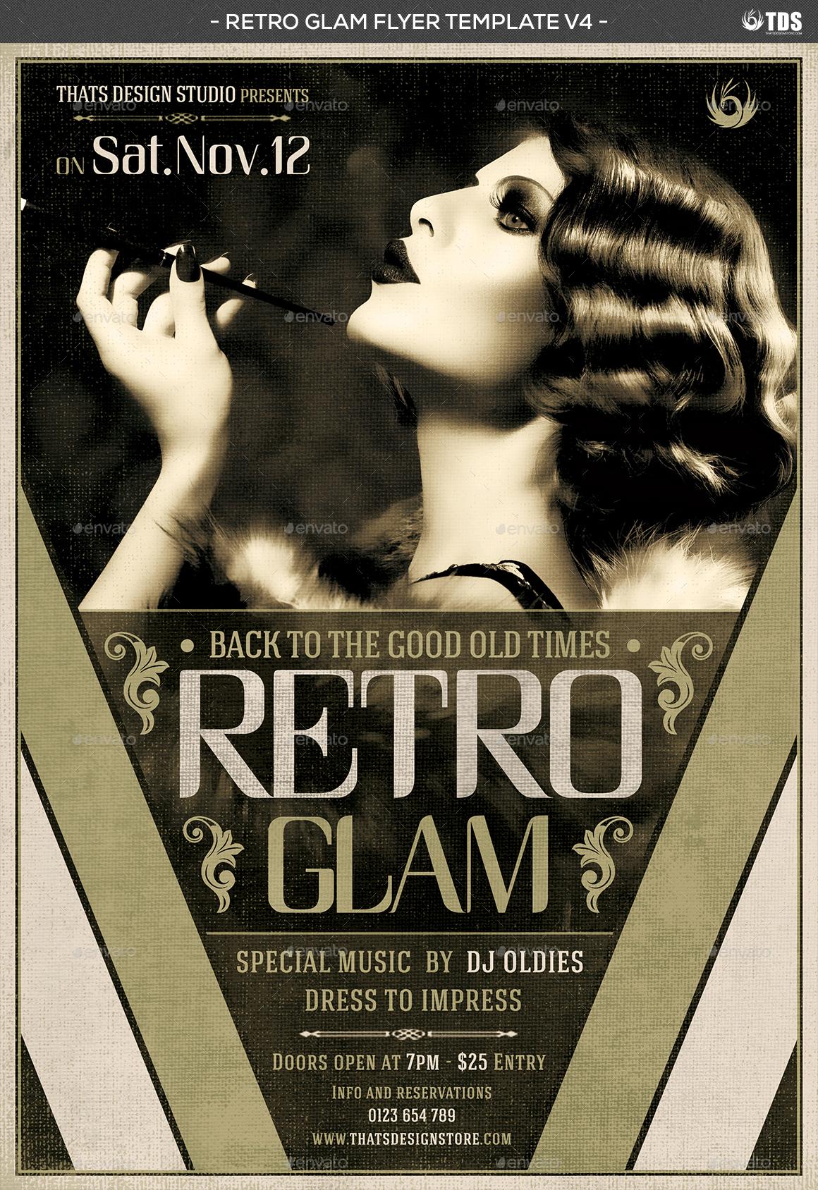 Retro Glam Flyer Template V4 by lou606 – Retro Flyer Template