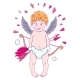 Valentine's Day. Funny Cupid-boy in Cloud Pants
