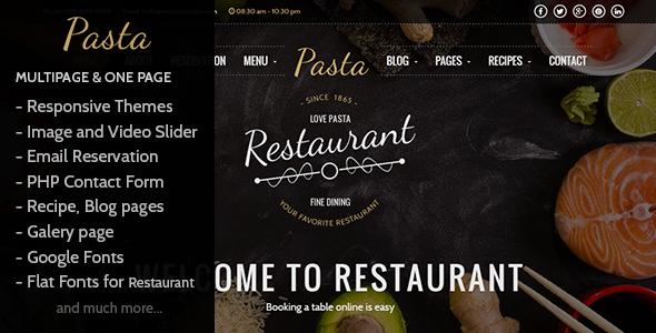 Pasta - Restaurant HTML Responsive Template