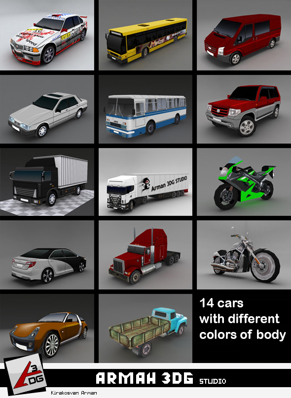 Cars Pack - Low Poly - 3DOcean Item for Sale