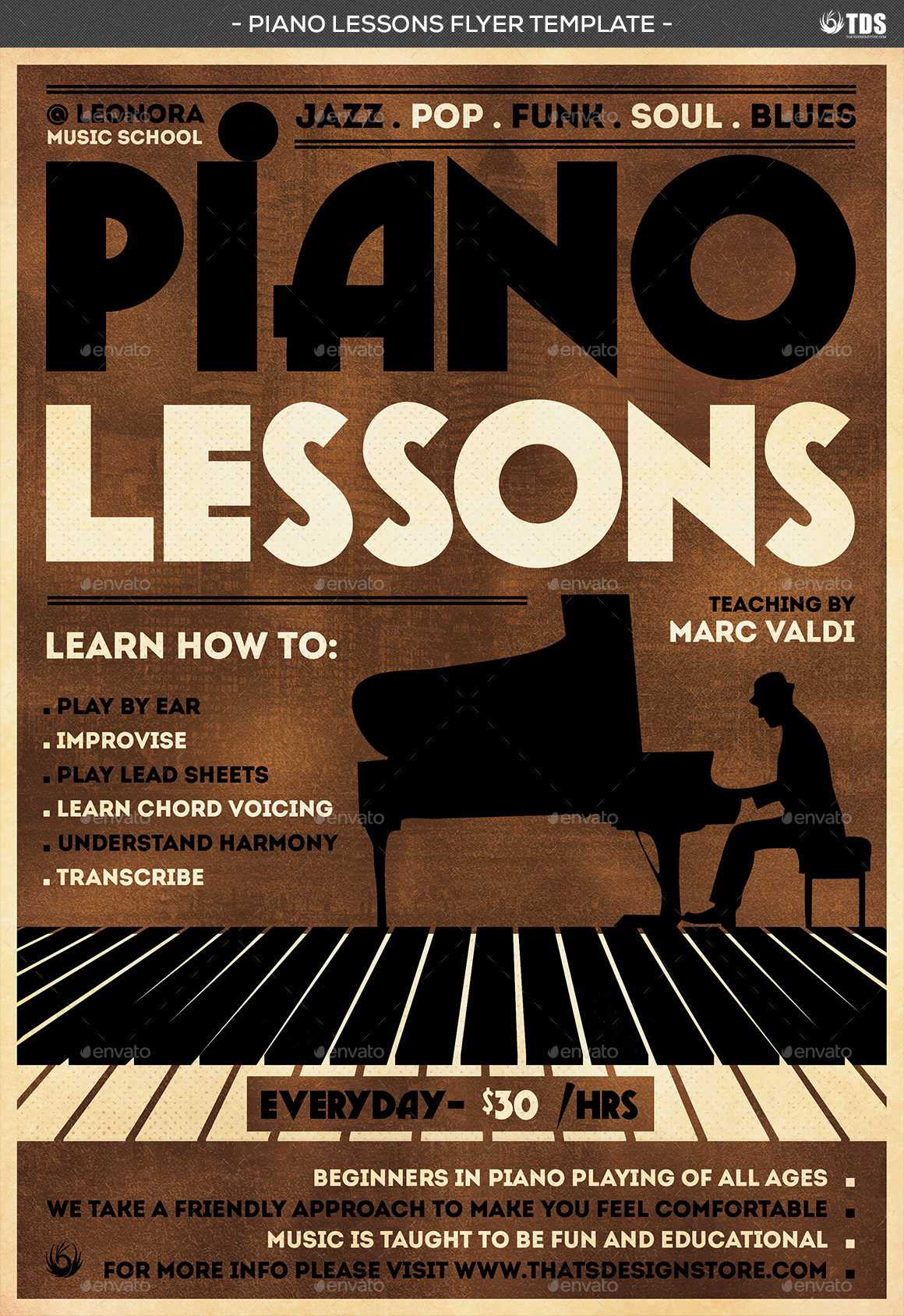 Piano Lessons Flyer Template by lou606 – Harmony Flyer Template