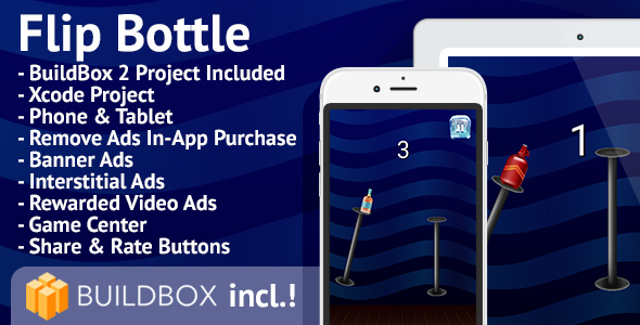 Flip Bottle: iOS, BuildBox Included, Easy Reskin, AdMob, RevMob, HeyZap, Remove Ads - CodeCanyon Item for Sale