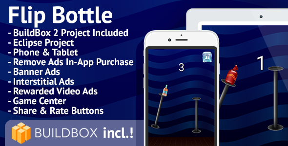 Flip Bottle: Android, BuildBox Included, Easy Reskin, AdMob, RevMob, HeyZap, Remove Ads - CodeCanyon Item for Sale