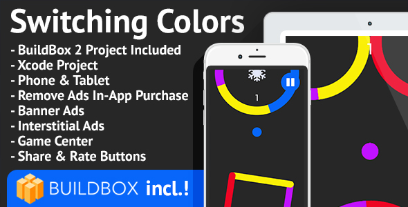 Switching Colors: iOS, BuildBox Included, Easy Reskin, AdMob, RevMob, Remove Ads - CodeCanyon Item for Sale