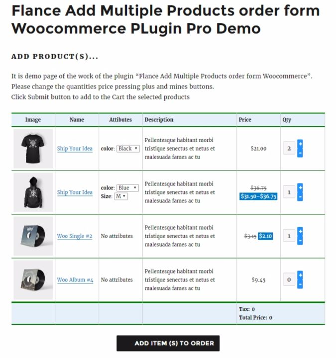 Flance Add Multiple Products order form PRO Woocommerce PLugin by – Product Order Form