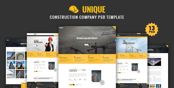 UNIQUE - Construction Company PSD Template