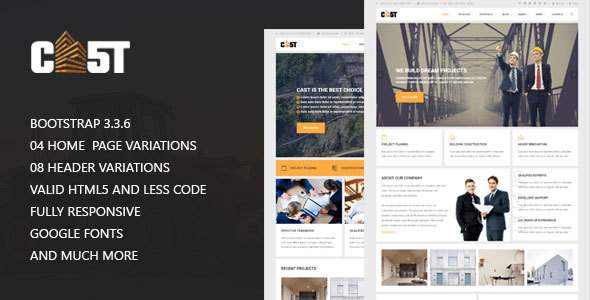 Download CAST - Construction & Industrial Responsive Corporate HTML5 Template