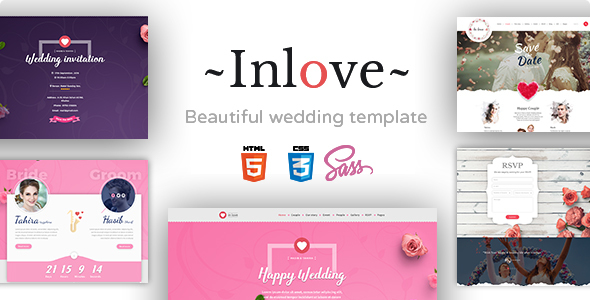 Inlove - Beautiful & Awesome Wedding Template Build With SASS.