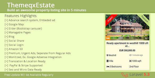 ThemeqxEstate - Laravel Real Estate Property Listing Portal