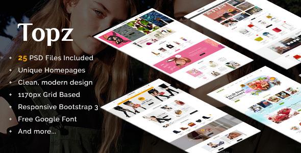 Topz | Responsive Multi-Purpose eCommerce PSD Template