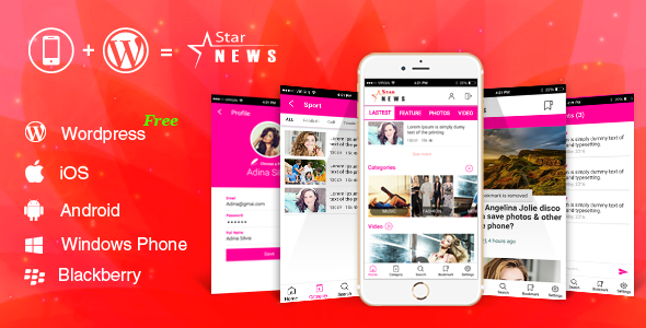 Download Full Android, iOS Mobile Application for WordPress Website - WordPress Mobile Star News App nulled download