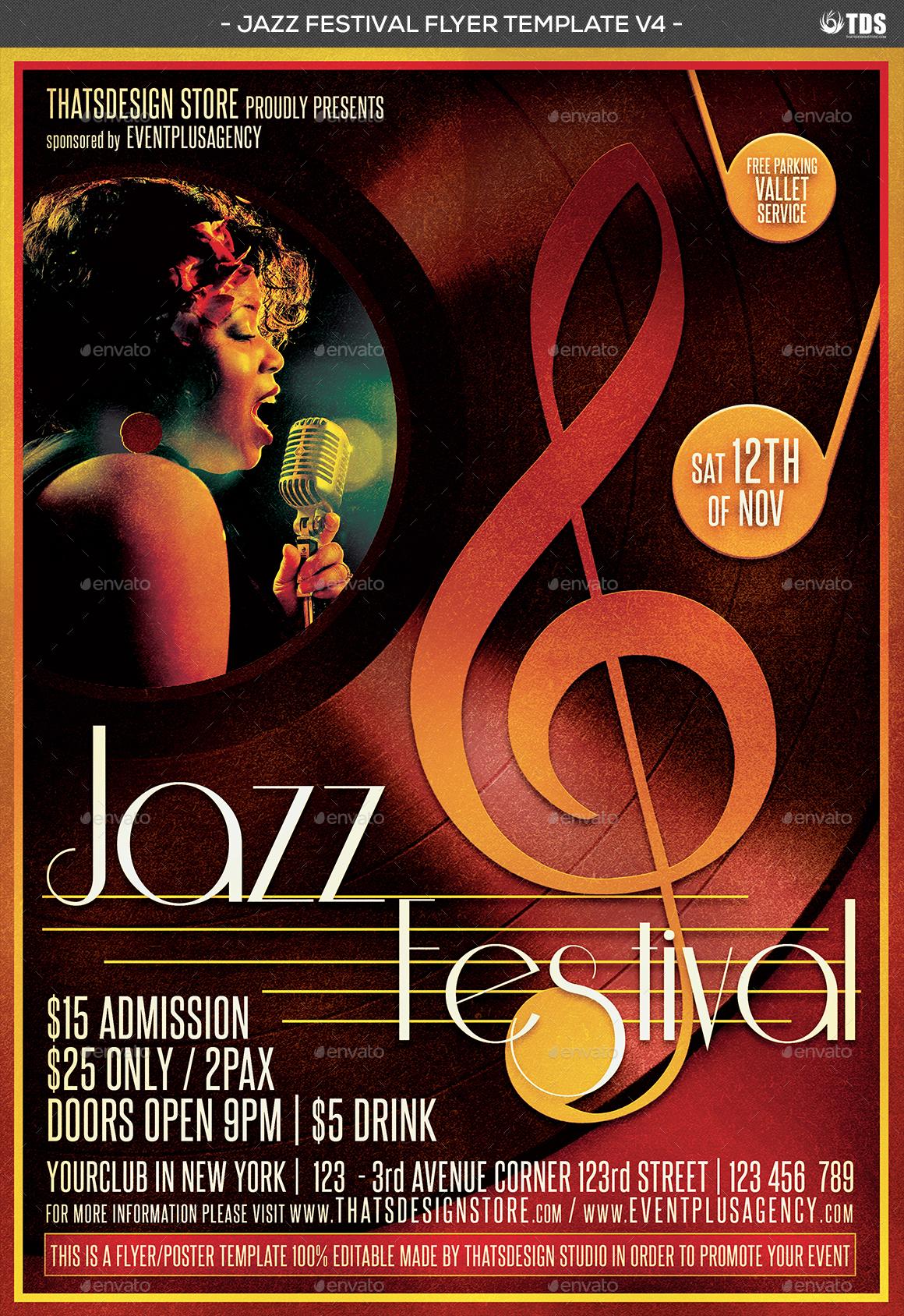 jazz festival flyer template v4 by lou606 graphicriver. Black Bedroom Furniture Sets. Home Design Ideas