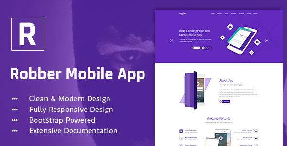 robber mobile app landing page psd template by creative themes themeforest. Black Bedroom Furniture Sets. Home Design Ideas