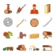Sawmill Timber Icon Set