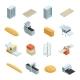 Bakery Factory Isometric Icon Set