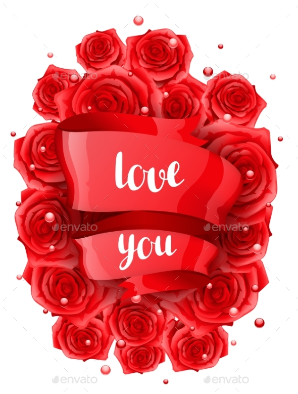 Happy Valentine Day Greeting Card with Red