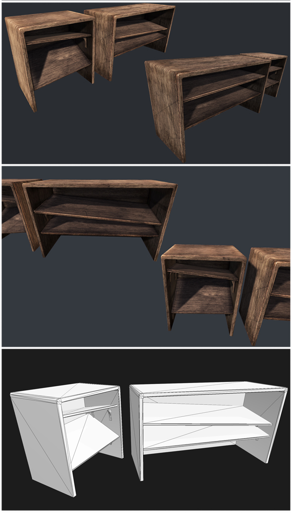 Old Wooden Bookcase - 3DOcean Item for Sale