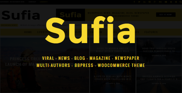 Sufia | News Blog Magazine Newspaper Multipurpose WordPress Theme