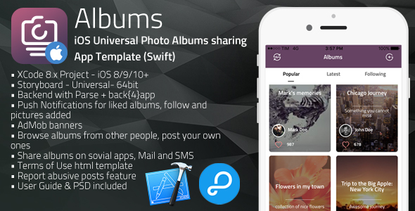 Albums | iOS Universal Photo Albums Sharing App Template (Swift)