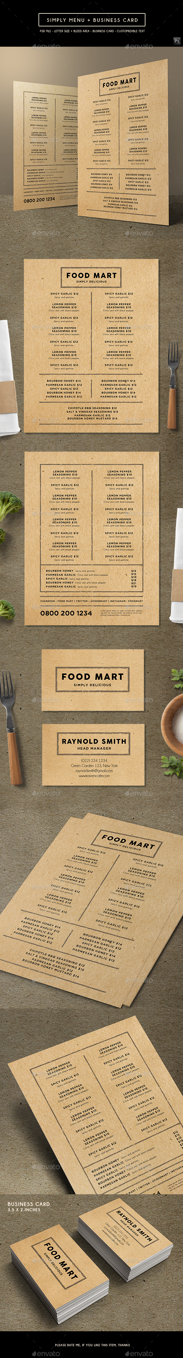 Simply Brown Menu + Business Card