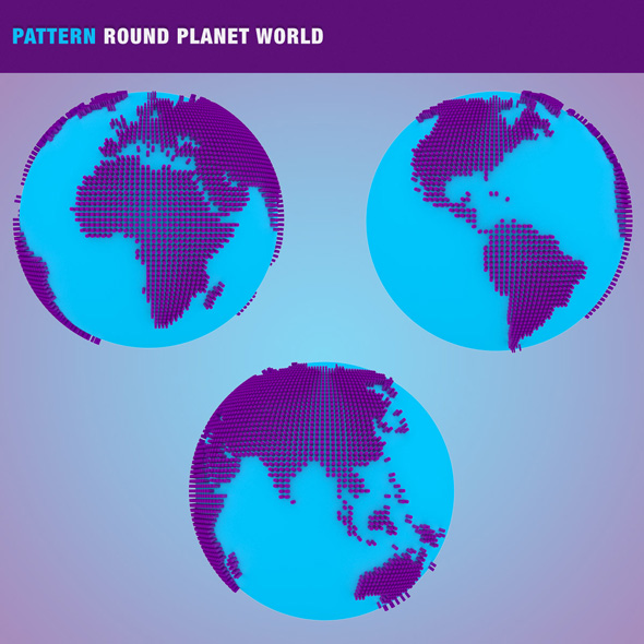 Pattern Round Planet World - 3DOcean Item for Sale