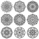 Indian Meditation Mandala Patterns Vector Set