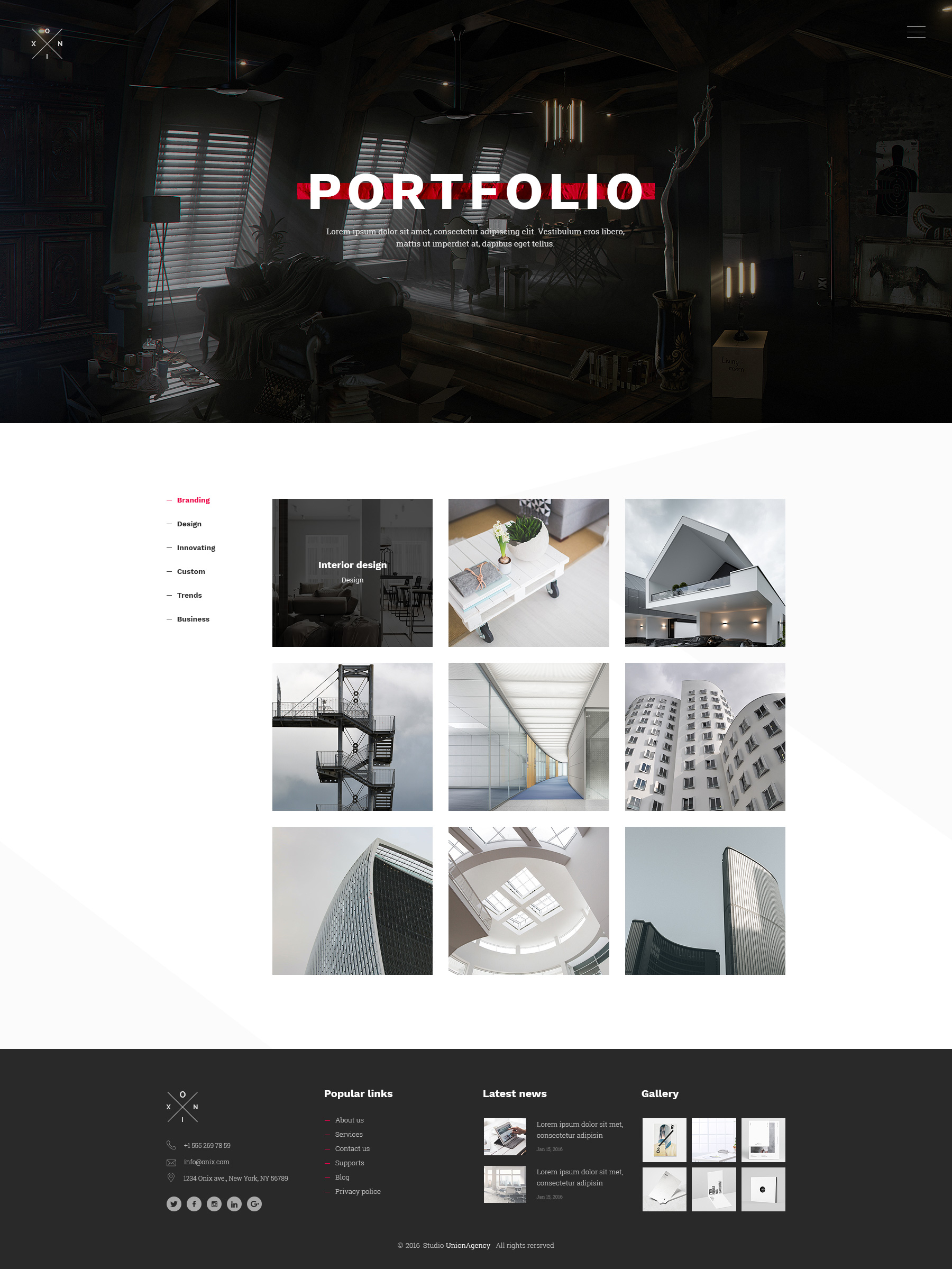 Onix multi purpose architecture interior portfolio for Good interior design websites