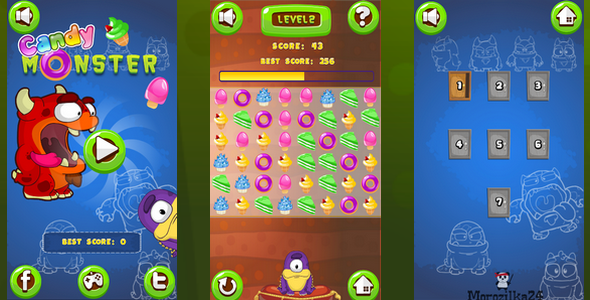 Candy Monster - match 3, html5, twitter, facebook, capx